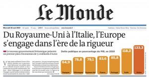 Copertine di Le Monde del 26 maggio 2010.