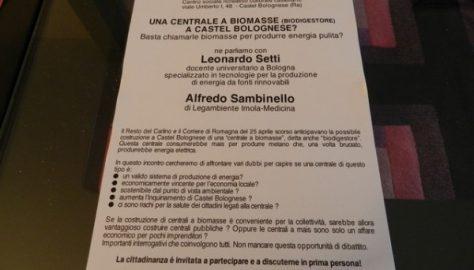 Castel Bolognese, assemblea per parlare di centrale a biomasse