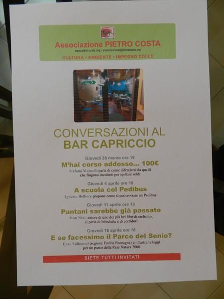 Il programma delle conversazioni al Bar Capriccio